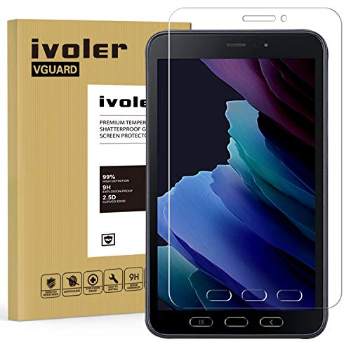 ivoler Protector de Pantalla para Samsung Galaxy Tab Active 3 / Samsung Galaxy Tab Active 2 8.0 Pulgadas, Cristal Vidrio Templado Premium, 9H Dureza, Antiarañazos, Sin Burbujas