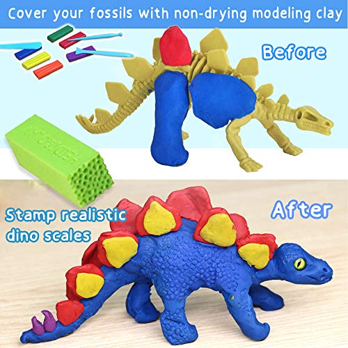 6 X Clay Dinosaurs with Silicon Scale Stamp and Non-Dry Modeling Clay - Kids Dinosaur Arts and Crafts for Boys Age 5-8 Girls Who Love Dinosaurs