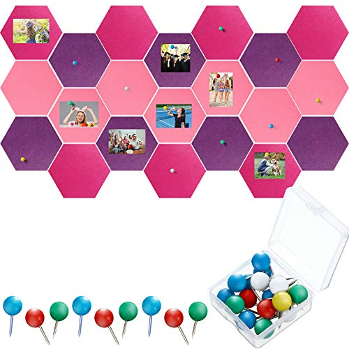 21 Pieces Pin Board Hexagon Felt Board Tiles Bulletin Board Memo Board Notice Board with 40 Pieces Push Pins for Home Office Classroom Wall Decor 5.9 x 7 Inches/ 15 x 17.7 cm (Rose Red, Purple, Pink)