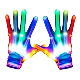 LED Gloves, Light Up Gloves Glowing Skeleton Gloves 5 Colors 6 Modes Flashing, Halloween Christmas Birthday Cosplay Festival Party Gift, Best Gifts for Age5-16 Years Kids, 1 Pair(White)