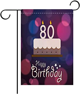 Artistically Designed Yard Flags, Double Sided 80th Birthday Decorations Abstract Backdrop with Birthday Party Cake and Candles Purple Pink and Lilac Best for Party Yard and Home Outdoor Decor