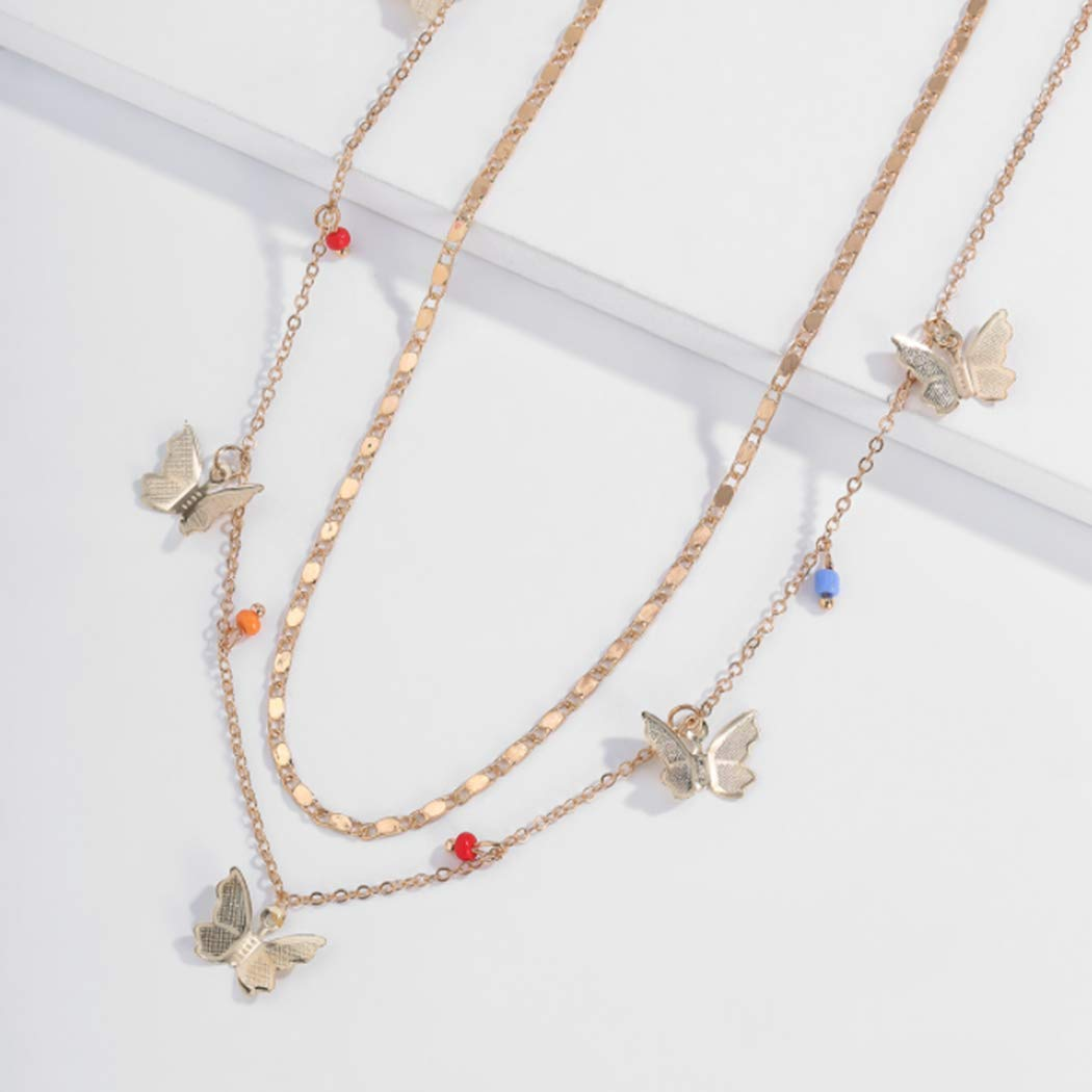 Edary Boho Layered Butterfly Necklace Beaded Pendant Necklaces Gold Tassel Chain Jewelry Accessories for Women and Girls.