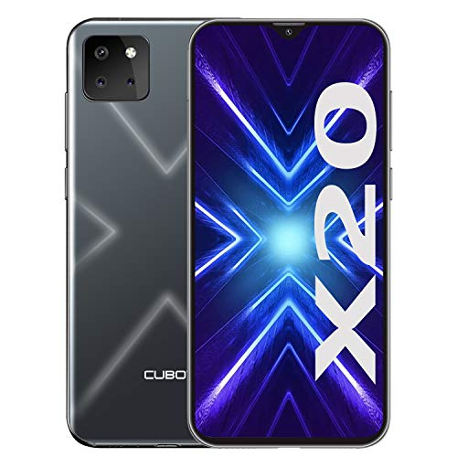 CUBOT X20 Smartphone ohne Vertrag, 4G LTE 6,3 Zoll Smartphone, 4GB RAM+64GB ROM, 4000mAh Akku, 20MP/12MP/8MP + 13MP Kamera, Dual SIM Handy Android 9.0, Face ID (Schwarz)