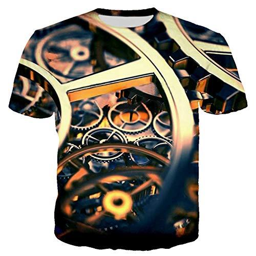 Gyjwsbaw Mechanisch heren-t-shirt voor de zomer, motorkleding, retro-shirt voor heren, grappig 3D-T-shirt voor heren