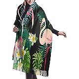 Tropical Flamingo Banana Leaf Bufanda de cachemir Bufanda de mujer de calidad superior Bufanda de abrigo Bufanda de invierno ultra suave Bufanda de silenciador gruesa Debe de invierno