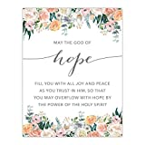Andaz Press Unframed Christian Bible Verses 8.5x11-inch Floral Roses Poster, Romans 15:13: May The God of Hope Fill You with All Joy and Peace as You Trust in him, 1-Pack