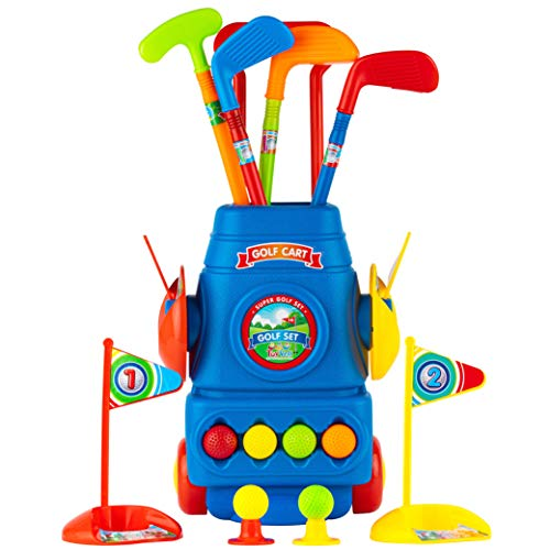 Toyvelt Kids Golf Club Set Golf Cart With Wheels, 4 Colorful Golf Sticks, 6 Balls & 2 Practice Holes Fun Young Golfer Sports Toy Kit For Boys &Girls Promotes Physical & Mental Development 2020 Edition