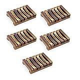 SMLJFO 5 soportes de jabonera de madera, para jabonera, soporte de madera natural, diseño de drenaje para baño y ducha