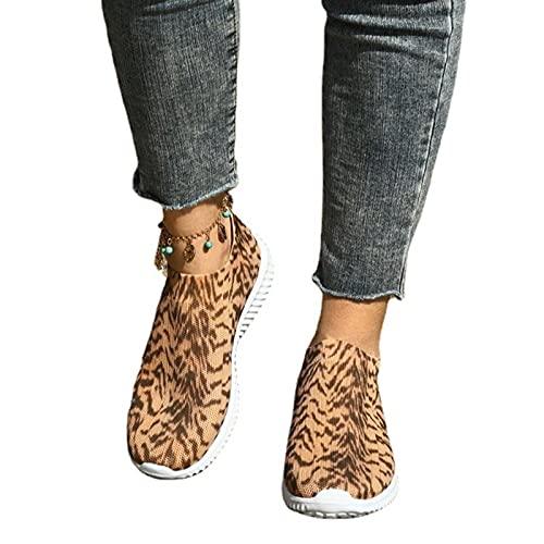 CTEJ Leopard Damen Sneaker Laufschuhe Sportschuhe Freizeit Schuhe Spitze Retro Segeltuchschuhe,Leopard,42