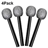 4 Packs Silver Glittered Microphone Pretend Toy Microphone for Stage or Costume Prop Birthday Party Favors