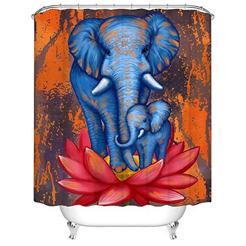 Rustikaler Elefanten-Duschvorhang, Stoff, blaue Mama & Baby-Elefant auf Lotus-Badvorhang, Retro-Stil, gebranntes Orange, Vorhang für Badezimmer, Dekoration mit Haken, 183 x 183 cm