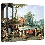 ArtWall Pieter Bruegel ' A風刺のFollyのTulip Mania 'ギャラリーWrappedキャンバスアート 36x48 1bru003a3648w