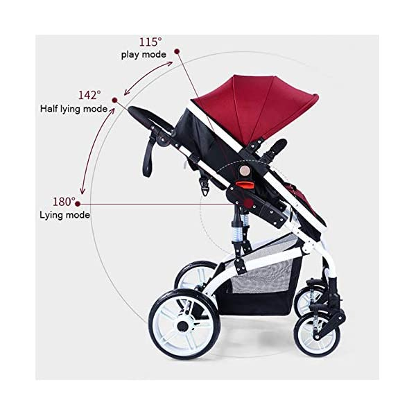 JXCC Baby Stroller Ultra Light Folding Child Shock Absorber Trolley Can Sit Half Lying 0-3 years old,25kg maximum -Safe And Stylish Blue JXCC 1.{All seasons} - Three-sided leaky net design, the awning can be adjusted at multiple angles, easy to cope with the sun 2.{75CM high landscape} - Baby can stay away from the surface heat, car exhaust, for the health of the baby 3.{3D stereo shock} - X-frame setting, evenly dispersing the upper weight, rear wheel two-wheel brake 6