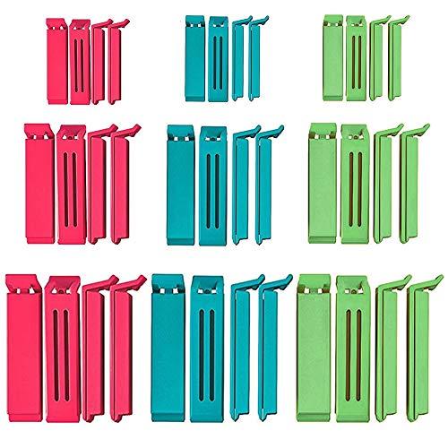 Space Home – clip voor tassen – clip voor het sluiten van tassen – set met 30 pincetten met doos – verschillende kleuren – 30 stuks/3 maten + box