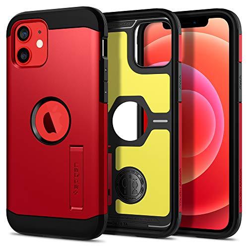 Spigen Tough Armor Hülle Kompatibel mit iPhone 12 Pro & Kompatibel mit iPhone 12 -Rot
