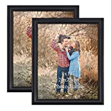 ZBEIVAN 8x10 Picture Frame Black Set of 2, Table Standing Wall Mounted 8 by 10 Family Office Art Photo Frame