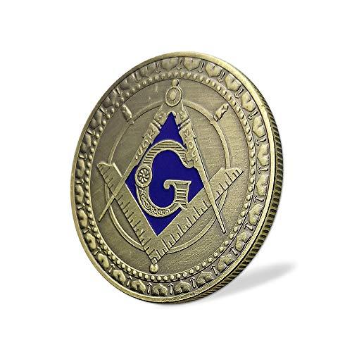Masonic Challenge Coin Square & Compass Freemasonry Angel Master Mason Blue Lodge Gift