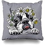 K.e.n Funda de Almohada de Tiro Hipster Perro Bulldog francés Corona de manzanilla Fauna Silvestre Flor de Pelo Raza Cool Cute Pillowcase
