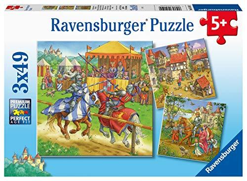 RAVENSBURGER Puzzle 05150 Ravensburger Children's Puzzle 05150-Knight Tournament in The Middle Ages 3x49 Piece Puzzle for Children