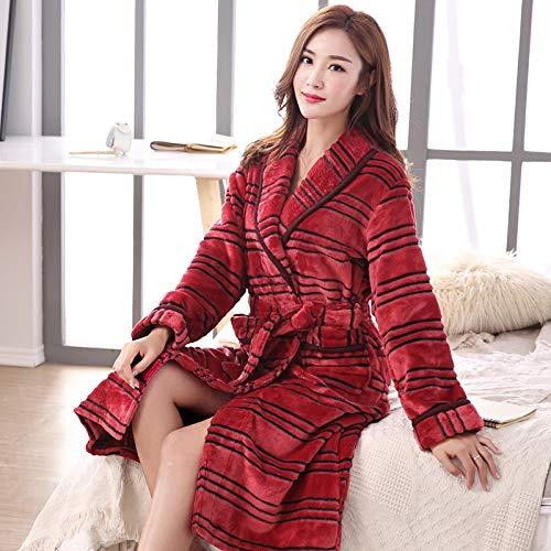 Guiping Albornoz de lana de color rojo para mujer, de otoño, para mujer, tallas grandes, a rayas (color: LX 86304, tamaño: XXL)