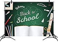 HD Back to School Backdrops for Photography ackboard Pencils Ruler Book Chalkboard Learning Photo Background First Day of School Welcome Party Banner Customized 10x7ft Vinyl Photo Booth Props