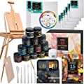 "MEEDEN Great Deluxe Value Artist Acrylic Painting Set with Solid Beech Wood French Easel, 15-100ML(3.38 oz) Acrylic Paints, 10- Acrylic Paintbrushes, 2-16""x20"" Stretched Canvases & 3-11""x14"" Canvases Panels & Accessories for Artists, Beginner, Teens & Adu"