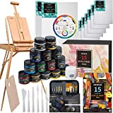 MEEDEN Great Deluxe Value Artist Acrylic Painting Set with Solid Beech Wood French Easel, 15-100ML(3.38 oz) Acrylic Paints, 10- Acrylic Paintbrushes, 2-16'x20' Stretched Canvases & 3-11'x14' Canvases Panels & Accessories for Artists, Beginner, Teens & Adults