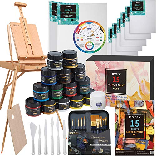 MEEDEN Great Deluxe Value Acrylic Painting Kit with French Style Easel, 15×100ML(3.38 oz) Acrylic...