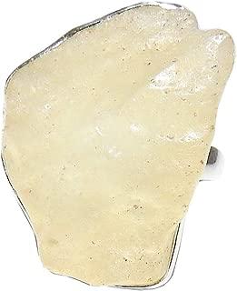 Libyan Desert Glass Natural Gemstone Sterling Silver Healing Crystal Energy Size 10 LYBR01