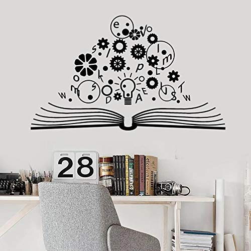 Libro abierto tatuajes de pared escuela cerebro ciencia lámpara engranaje física vinilo pegatinas de pared laboratorio sala de estudio decoración interior mural