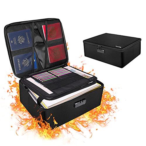 Feuerfeste Dokumentenbox, Aufbewahrungsbox 4-Schicht großer Raum, Wasserfeste Sichere Tasche mit Schloss, Zusammenklappbare & Tragbare Aufbewahrungsbox Staubdichter Dateiorganisator für Heimbüro