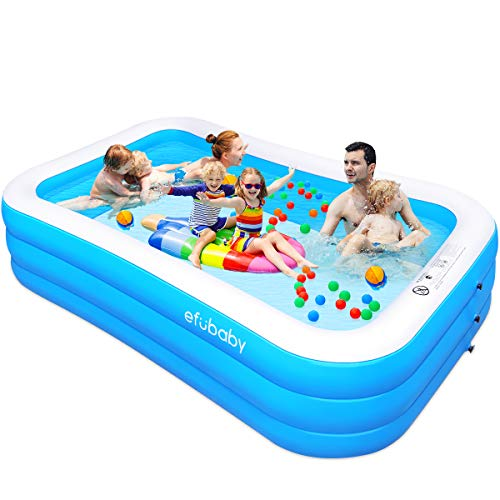 efubaby Inflatable Pool, 120' X 72' X 22' Full-Sized Swimming Pools Inflatable Kid Pools Blow up...