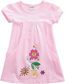 JUXINSU Toddler Cotton Summer Flower Girls Short Sleeve Dress for Baby Girl Kids 1-7 Years