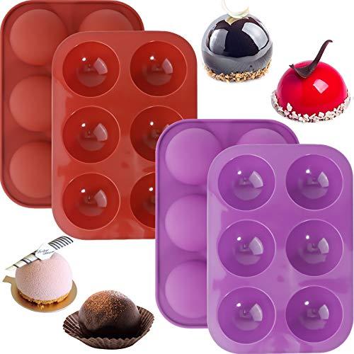 Medium Semi Sphere Silikonform,Runde Schokoladenplätzchenformen,Silikonformen für Schokoladenüberzug Perfekt für heiße Schokoladenbombe,handgemachte Seife,Gelee,Brownie-Kuchen,Kuppelmousse (4er)