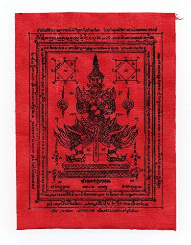 Taovassuwan Yantra Red Fabric Cloth Magic Thai Buddha PHA Yan Amulet Talisman for Lucky and Money 6x4.5