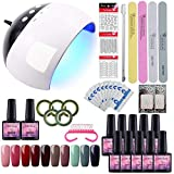 Saint-Acior Esmalte Semipermanente 10PCS Kit Uñas de Gel Pintauñas Soak off 8ml Lámpara Uñas 24W UV/LED Secador de Uñas Top Coat Base Coat Manicura Kit