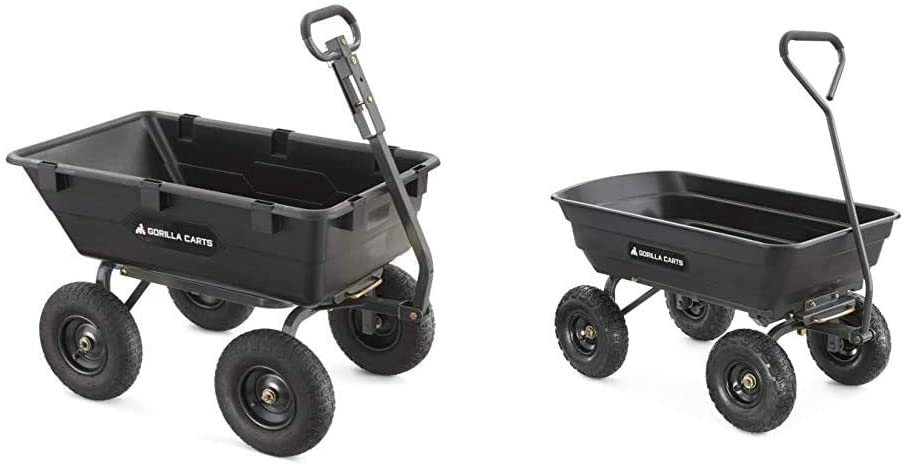 Gorilla Carts Heavy-Duty Poly Yard Dump Cart & Carts GOR4PS Poly Garden Dump Cart with Steel Frame and 10-in. Pneumatic Tires, 600-Pound Capacity, Black