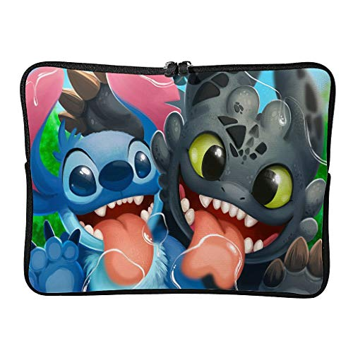 Stitch and Night Fury Cute Laptop Case Bag Slim Big Capacity Zipper Multi-Functional Stationery 10-17 Inch for Men Women White 17 Zoll