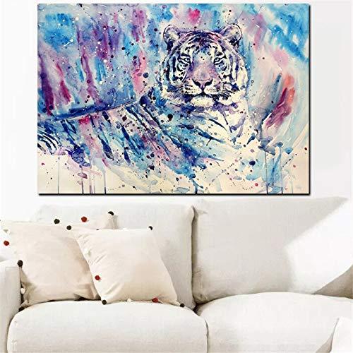 Animal lienzo pared arte pop acuarela tigre imagen HD impresión en lienzo pintura abstracta moderna para la decoración de la sala de estar del hogar 60x80 CM (sin marco)