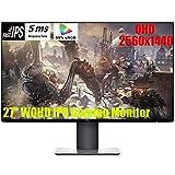 Flagship Dell Monitor IPS de 27 'Ultrasharp WQHD (2560x1440) con resolución con biseles Infinity Edge, frecuencia de actualización de 60 Hz, 99% sRGB, tiempo de respuesta de 5 ms, USB, puertos de pantalla