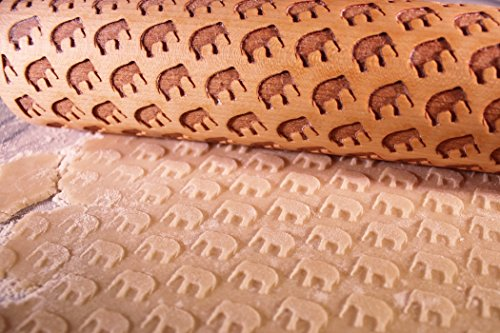 Elephant Laser Cut Wooden Embossing Rolling Pin