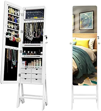 LED Standing Mirror Armoire Jewelry Organizer Cabinet with Full Length Body Mirror Large Storage product image