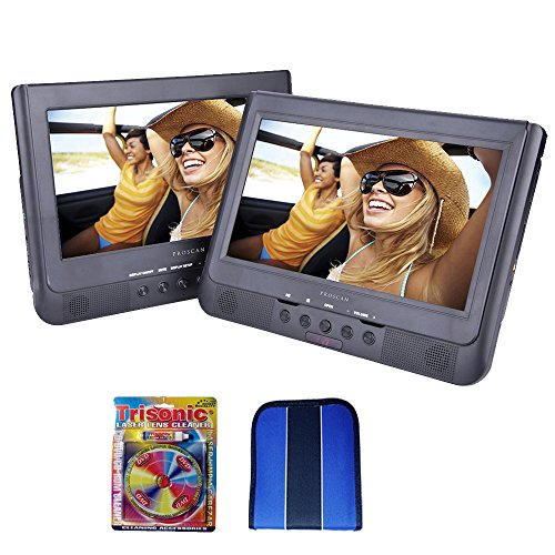 """Beach Camera Sylvania 10.1"""" Dual Screen Portable DVD Player (SDVD1037) - Essentials Bundle Includes, Trisonic Lens Cleaning Kit & CD/DVD Wallet"""