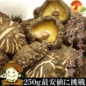 九州産原木中粒干しどんこしいたけ250g 国産椎茸無農薬原木栽培 椎茸 どんこ 中粒