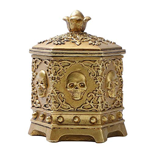 favourall Retro Jewelry Storage Box Resin Skeleton Head Jewelry Holder Container For Earring Ring Trinket Storage Halloween Home Ornament