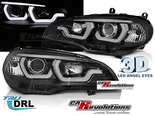 Für BMW X5 E70 2007-2013 LED Tagfahrlicht Light Tube 3D Angel Eyes Scheinwerfer in schwarz