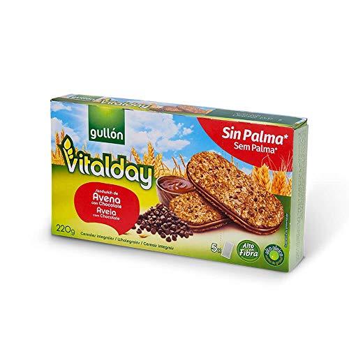 Gullón, Vitalday, Biscotti all'Avena con Farcitura al Cioccolato, Confezione da 5 x 44 gr