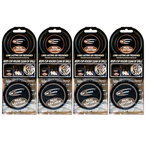 Aroma Chips Real Leather Scent (4 Pack) The Original Car Coaster Air Freshener Long Lasting Fragrance, Odor Removing …