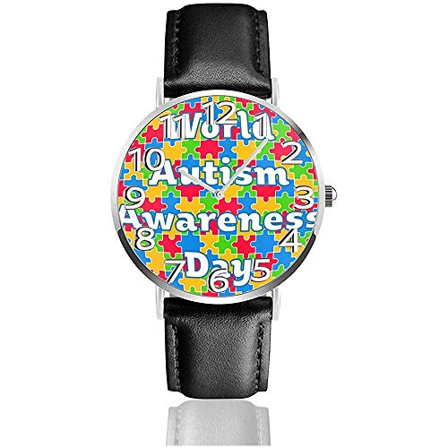 Wereld Autisme Bewustzijn Dag Puzzel Lederen Horloge Unisex 3D Gedrukte Polshorloges Quartz Horloge