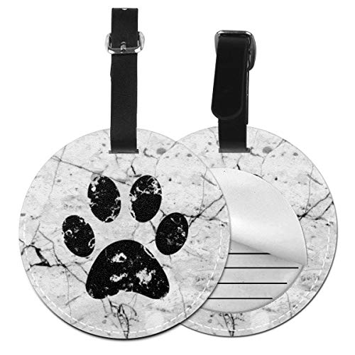 Luggage Tag PU Leather Bag Tag Travel Suitcases ID Identifier Baggage Label Black Dog Paw White Marble